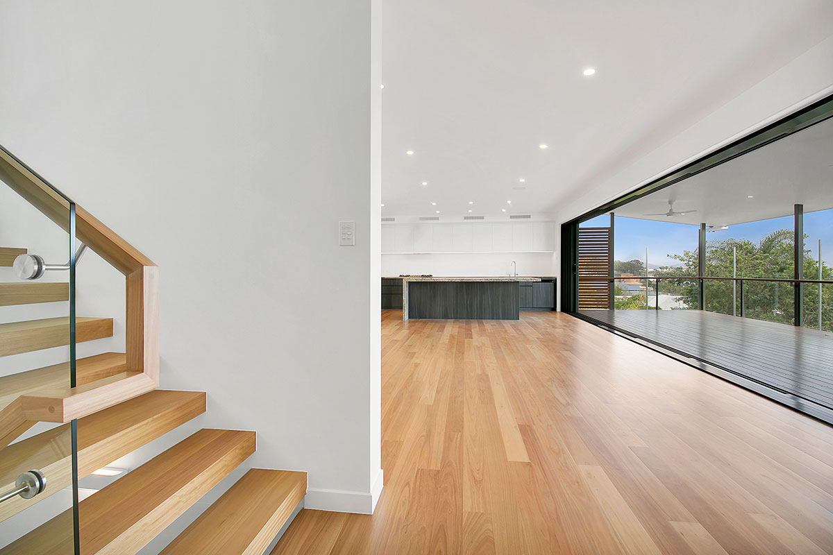 Greenslopes Renovation Master Builder Award Nomination 2018 Stair  Living Kitchen Deck Sliding Doors
